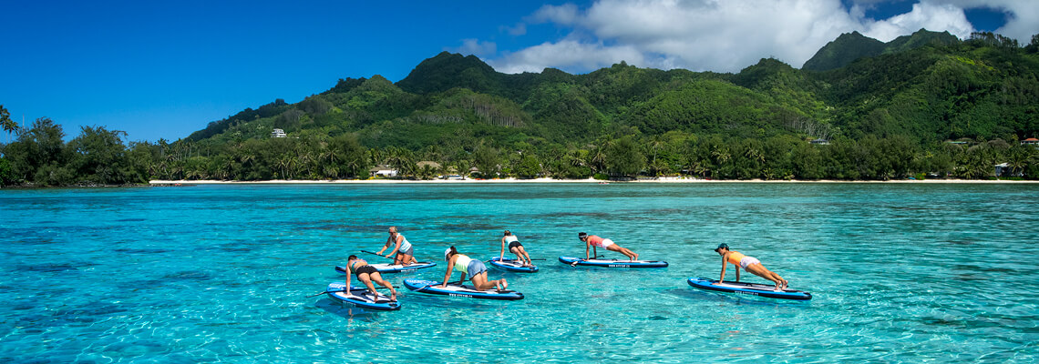 Group of people paddle boarding near a tropical island