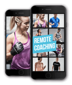 Two smart phones showing the remote coaching app from Anytime Fitness