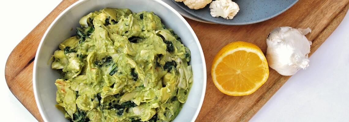 Acovado, artichoke, kale dip