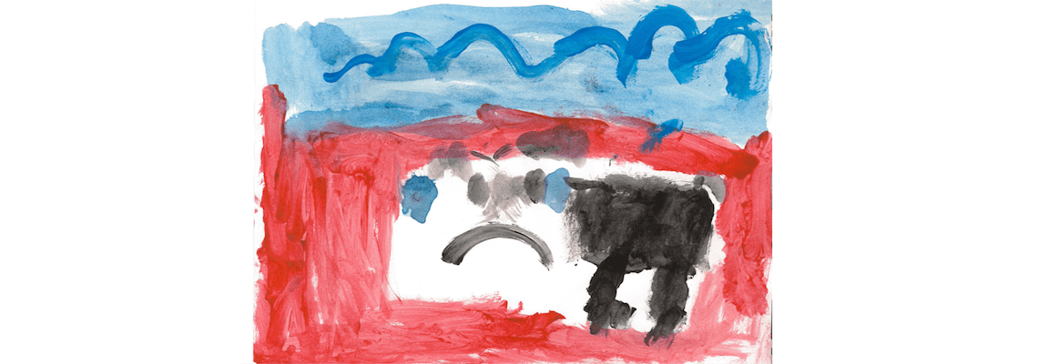 Child's painting of a black dog